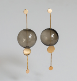 Annika Inez Glassy Orbit Earrings smoky glass ball - Gold Fill