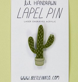 Cactus Acrylic Pin by Beetle Ink