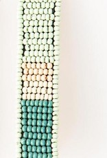 """Ink + Alloy Hair Barrette, small seed-beaded color-blocked, 1/2"""" X 2.5"""""""