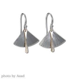 Peter James Jewelry Silver Fan w/ Gold Fill Detail Earrings, Medium - Peter James Jewelry