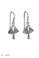 Peter James Jewelry Silver Fan w/ Gold Fill Detail Earrings, Small - Peter James Jewelry