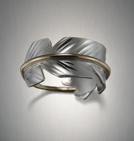Peter James Jewelry Feather Sterling Silver +  Gold Fill Ring -  Peter James Jewelry