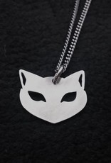 Le Chat Cat Face Necklace, Oxidized Sterling - Missy Industry