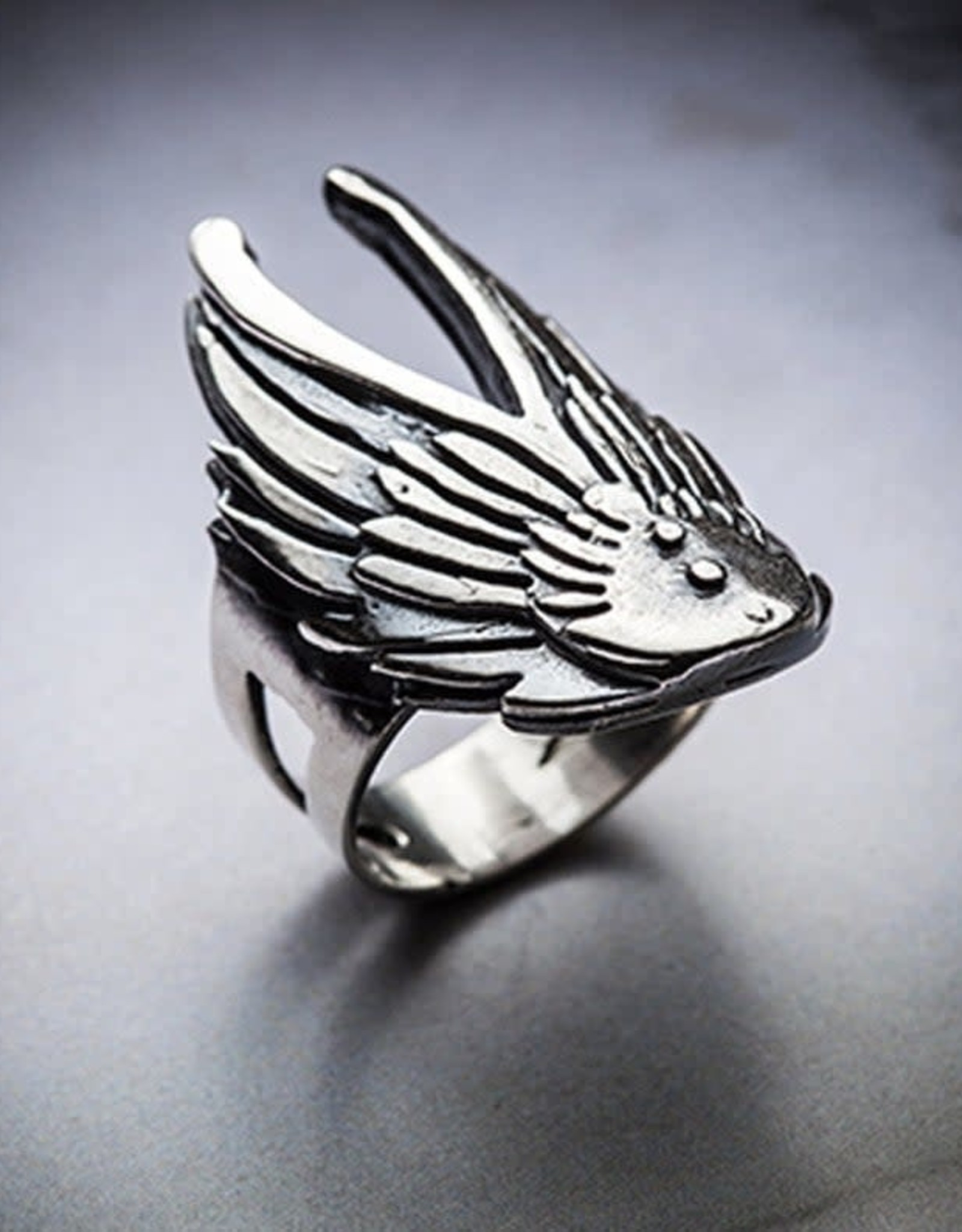 Angel Wing Ring, Oxidized Sterling - Missy Industry