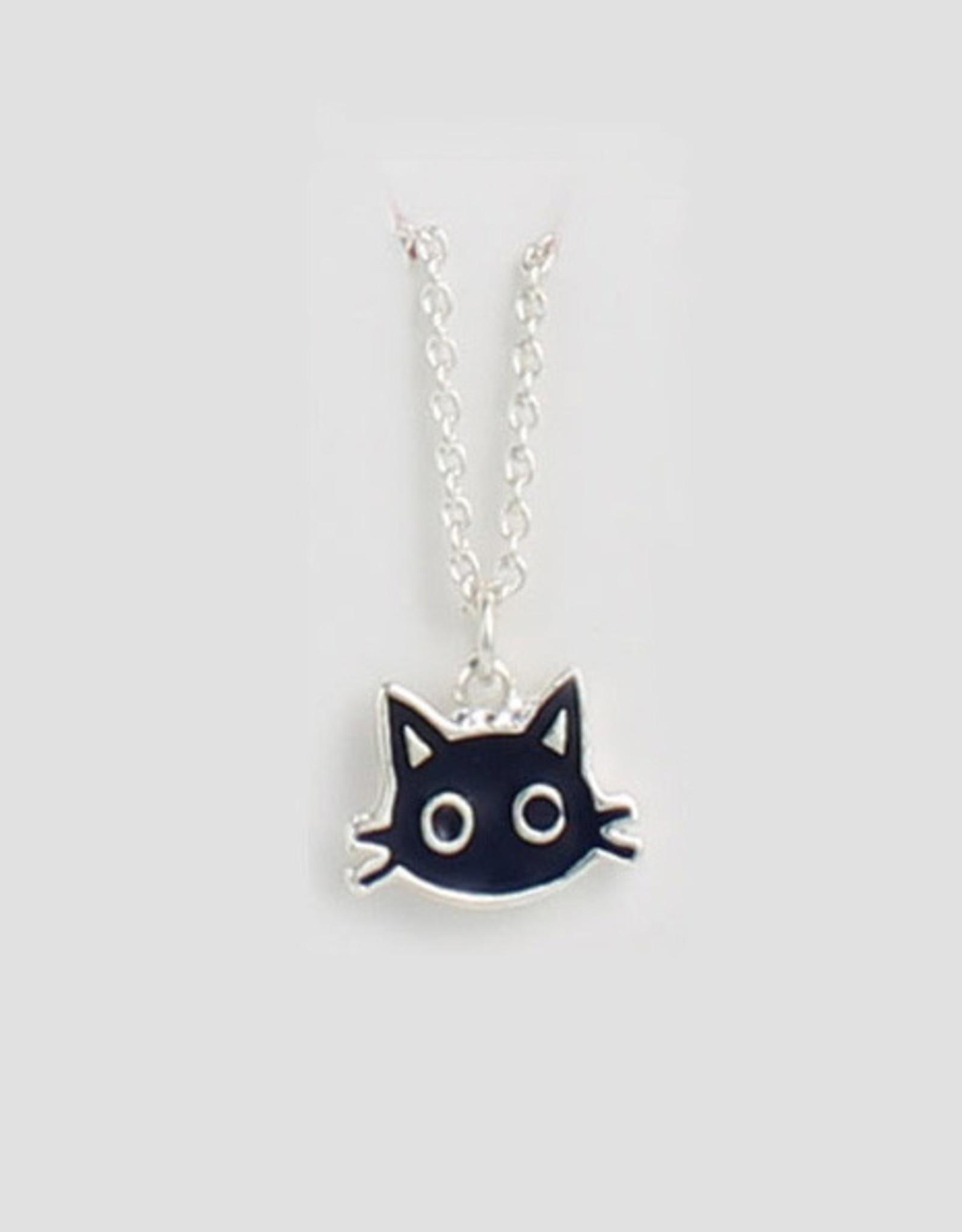 Tiny Black Cat Necklace, enamel