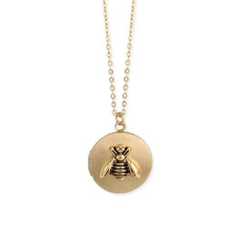 Golden Bee Locket Necklace