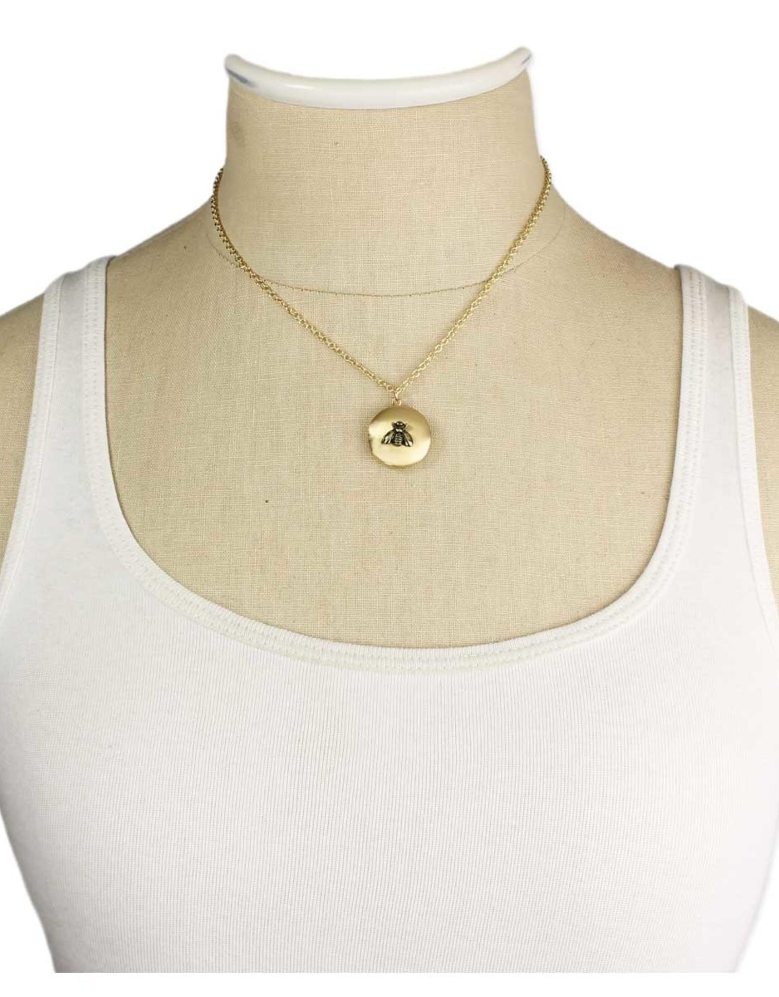 Golden Bee Locket Necklace