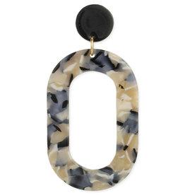 Black & Cream Oval Resin Post Earrings