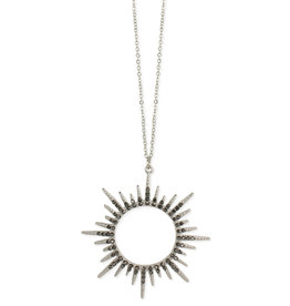 Hematite Sunburst Long Necklace- Grey Hematite, White plated finish
