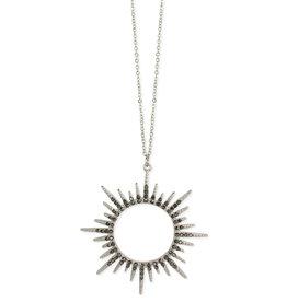 Hematite Sunburst Long Necklace- Grey Hematite, White plated finish