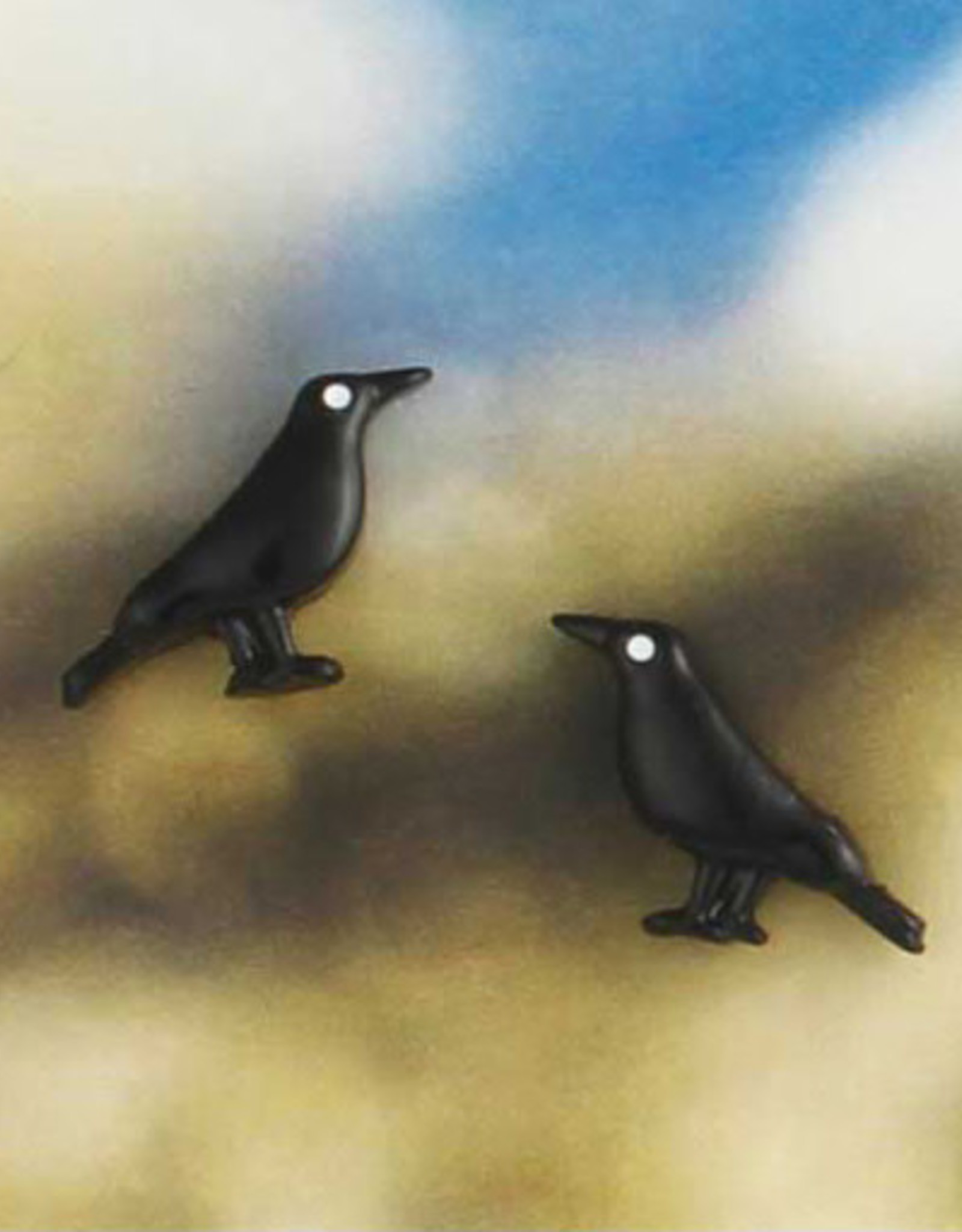 Tiny Black Crow Post Earrings