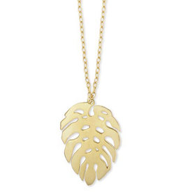Gold Metal Palm Leaf Necklace
