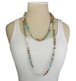 Long Aventurine + Jasper Beaded Necklace
