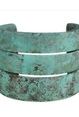 Turquoise Patina Wide Cuff Bracelet
