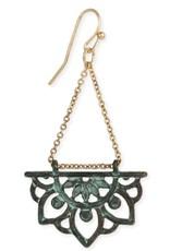 Lotus Dangle Earring, Green Patina