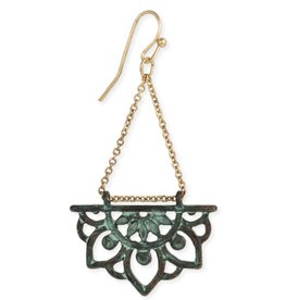 Lotus Dangle Earring, Green Patina
