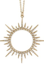 Crystal Sunburst Long Necklace- White Crystals, Gold plated finish