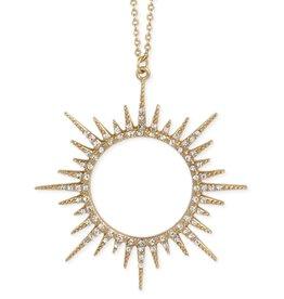 Long Gold Sunburst Crystal Necklace