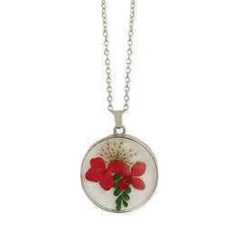 Pressed Red Flowers Necklace