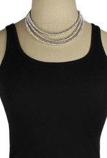 Black Cord + Silver Beaded Necklace