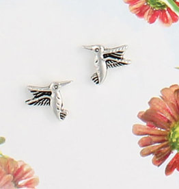 Hummingbird Post Earrings, Silver Plated