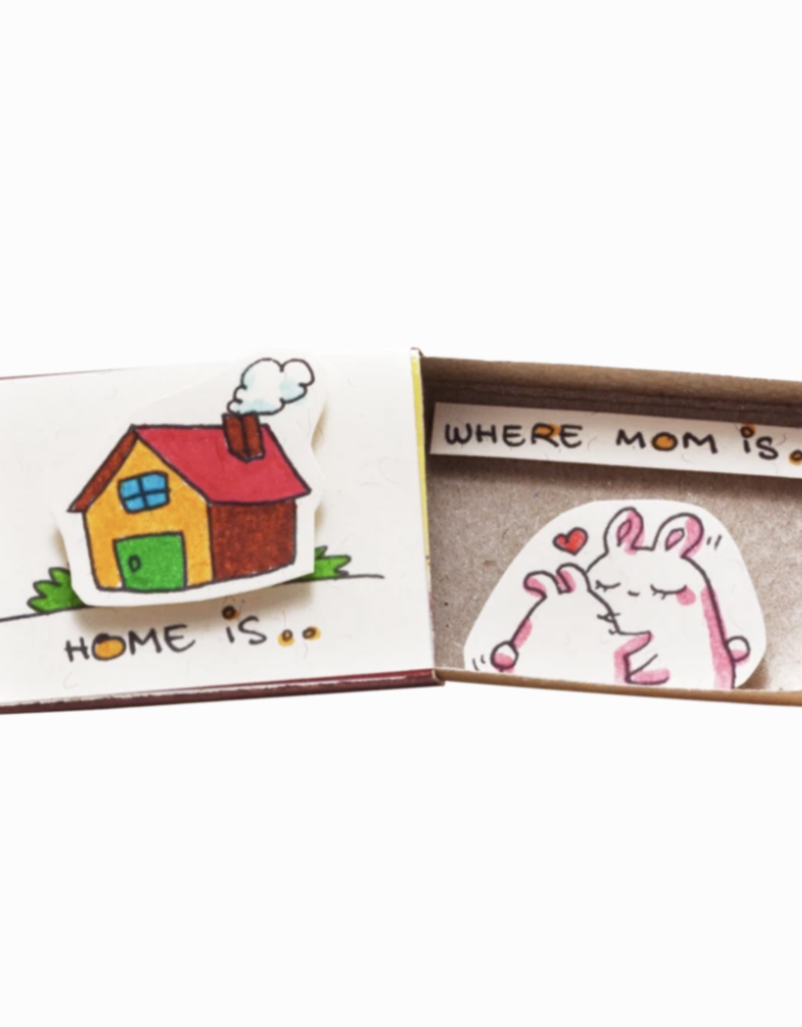 Matchbox Greeting Card -  Home Is Where Mom Is