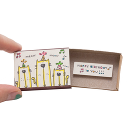 Matchbox Card Birthday Cats Singing