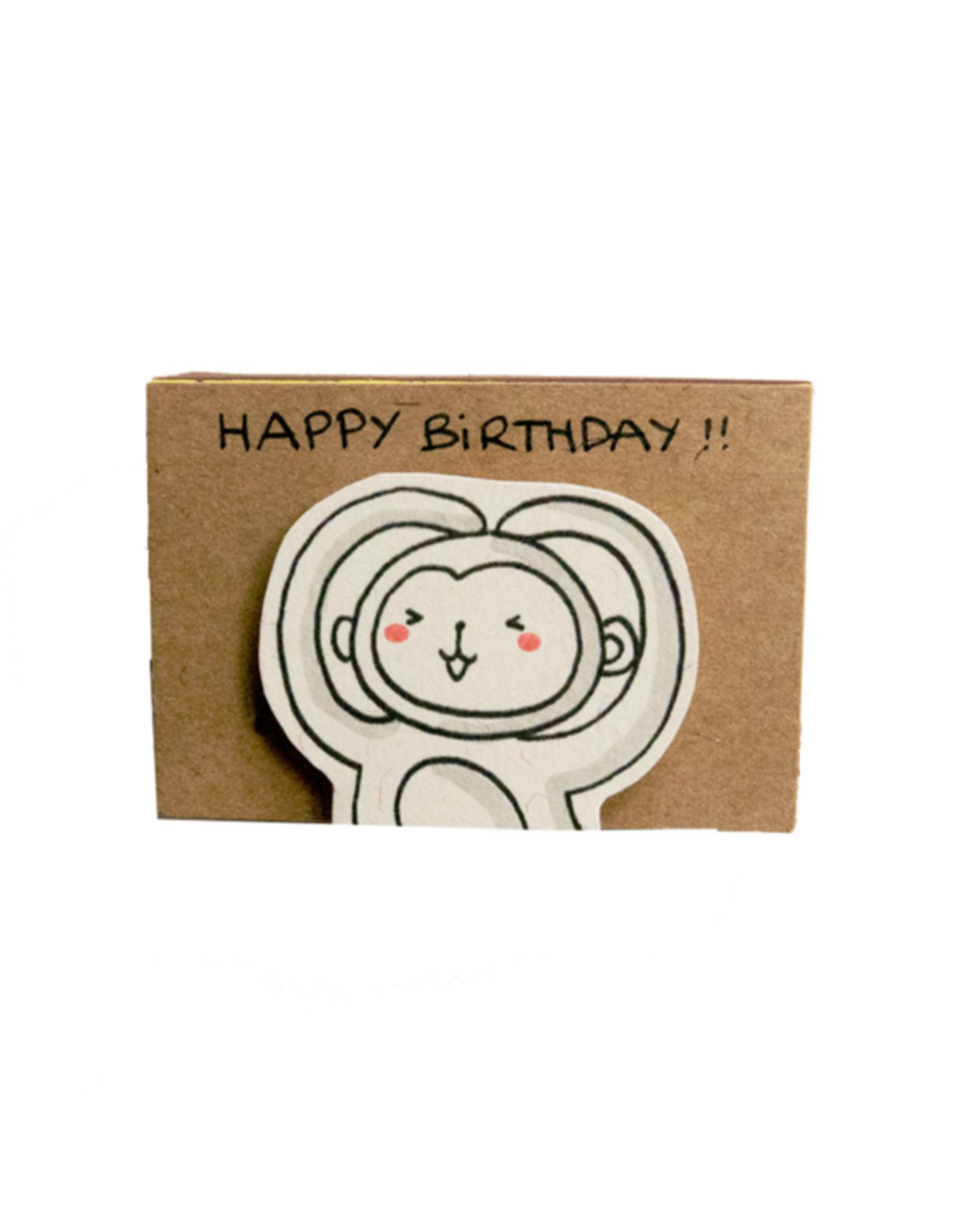 Matchbox Card Birthday Monkey