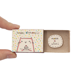 Matchbox Card Birthday Make a Wish Cupcake Cat