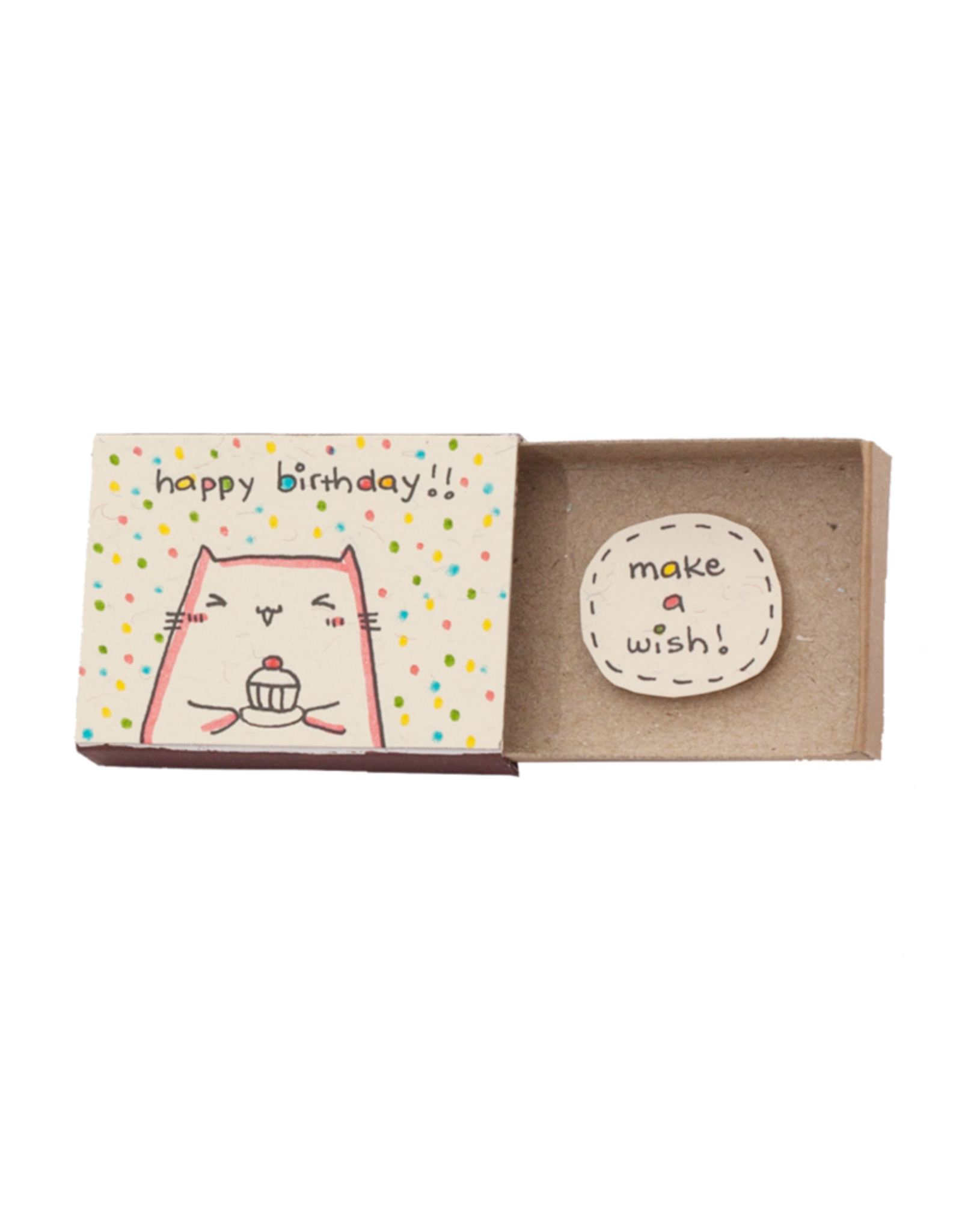 Matchbox Card Birthday Make a Wish Cupcake Cat