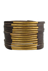 Brown Leather + Antiqued Brass Bars Cuff Bracelet