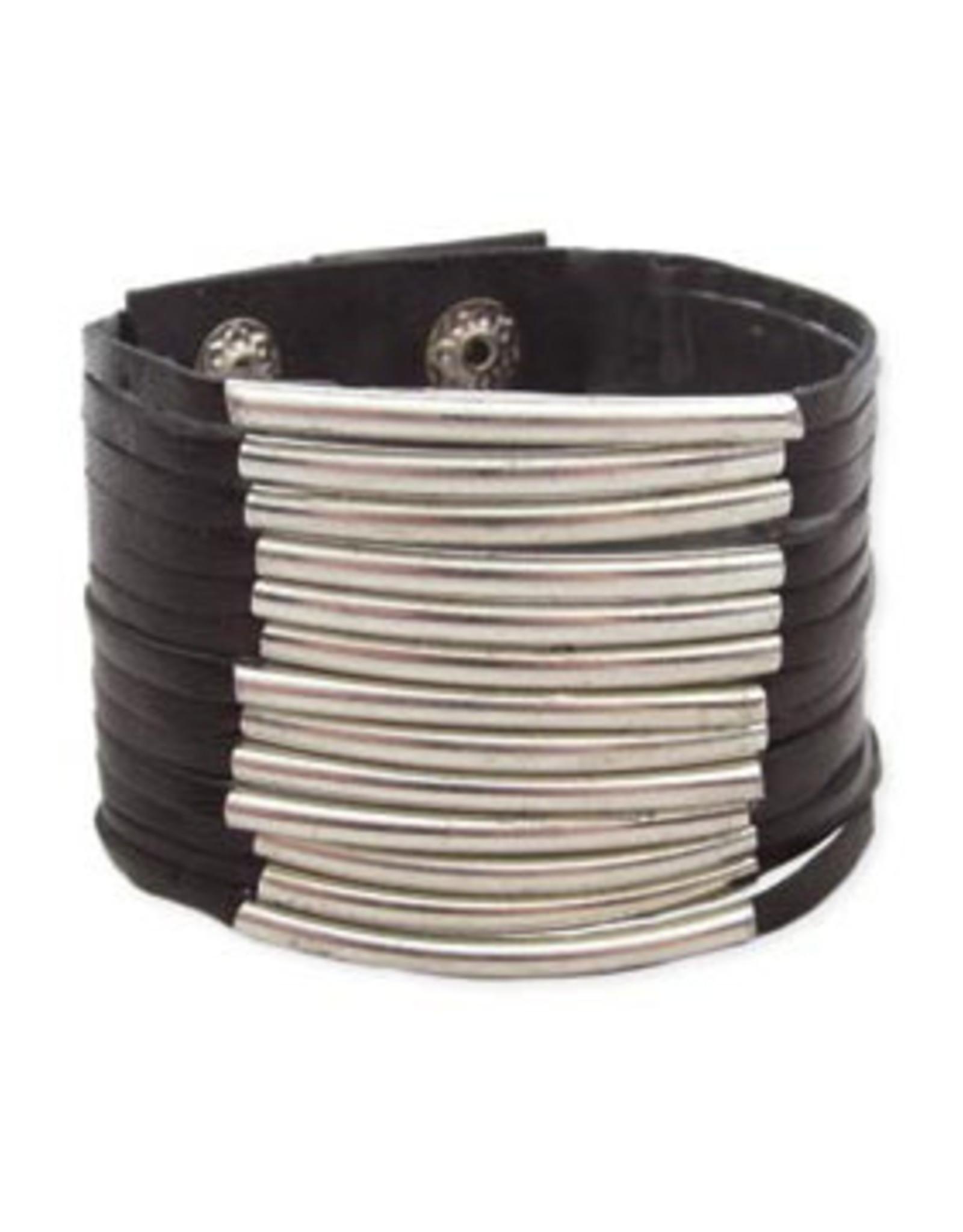Black Leather + Silver Bar Snap Cuff Bracelet