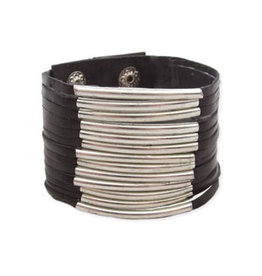 Black Leather + Silver Bar Snap Cuff Bracelet