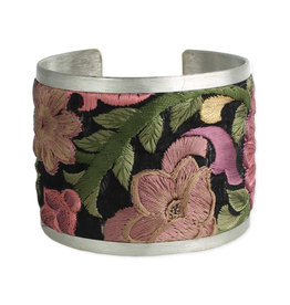 Purple Embroidered Flower Cuff Bracelet