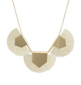 Fringed Gold + Cream Fan Necklace