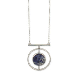 Silver Geo Shape with Sodalite Center Necklace