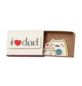 Matchbox Card I Heart Dad Cats