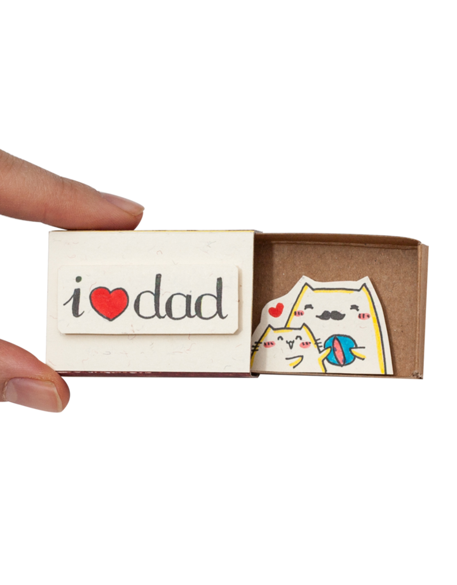 Matchbox Card I Heart Dad Cats