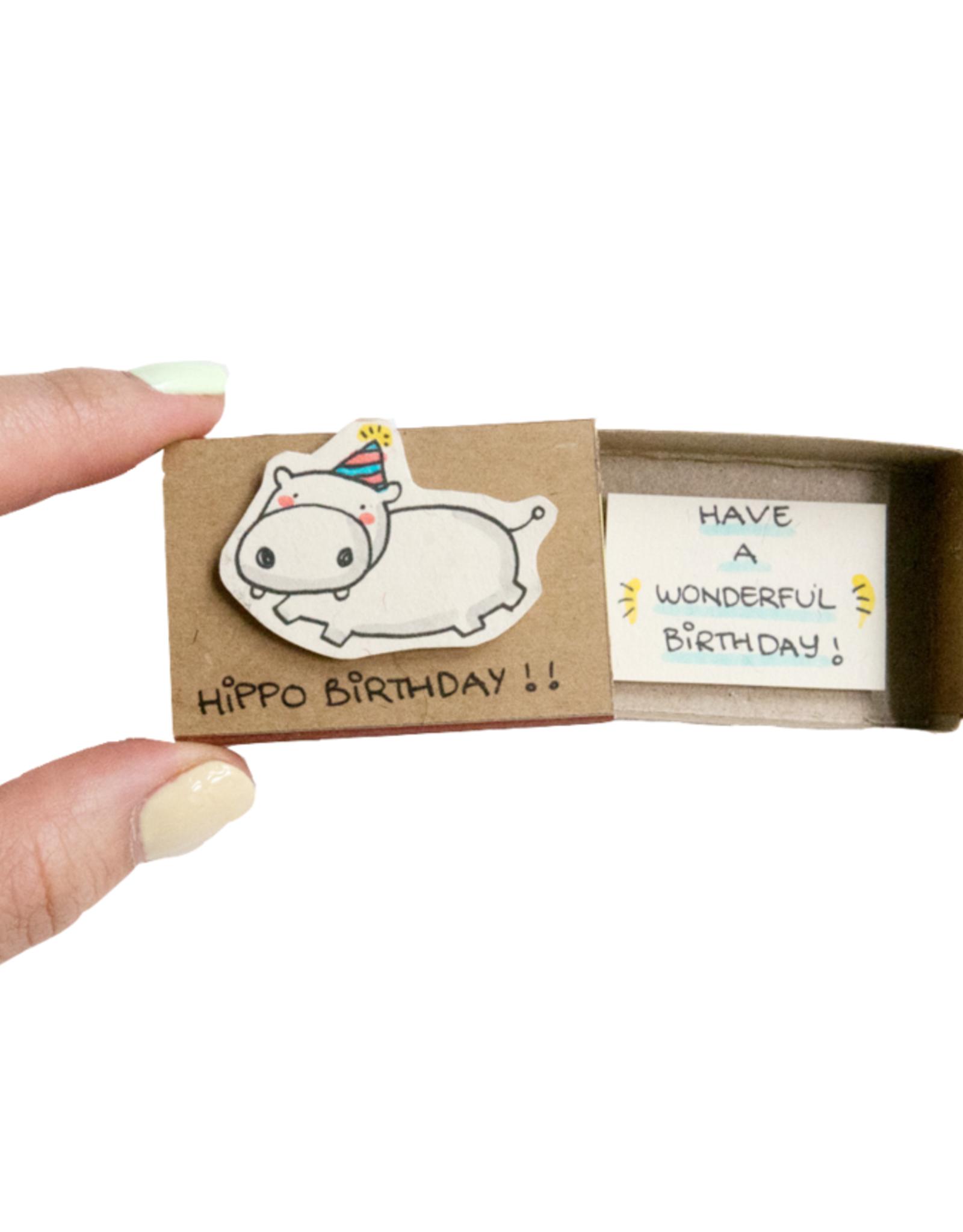 Matchbox Card Hippo Birthday