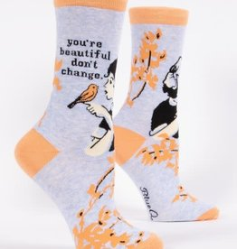 Blue Q You're Beautiful, Don't Change - Women's Crew Socks