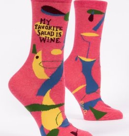 Blue Q My Favorite Salad is wine - Women's Crew Socks
