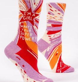 Blue Q I'm A Girl. What's Your Superpower? - Women's Crew Socks