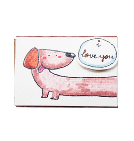 Matchbox Card I Love You This Much Dachshund