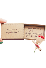 Matchbox Card with Flowers Be My Valentine