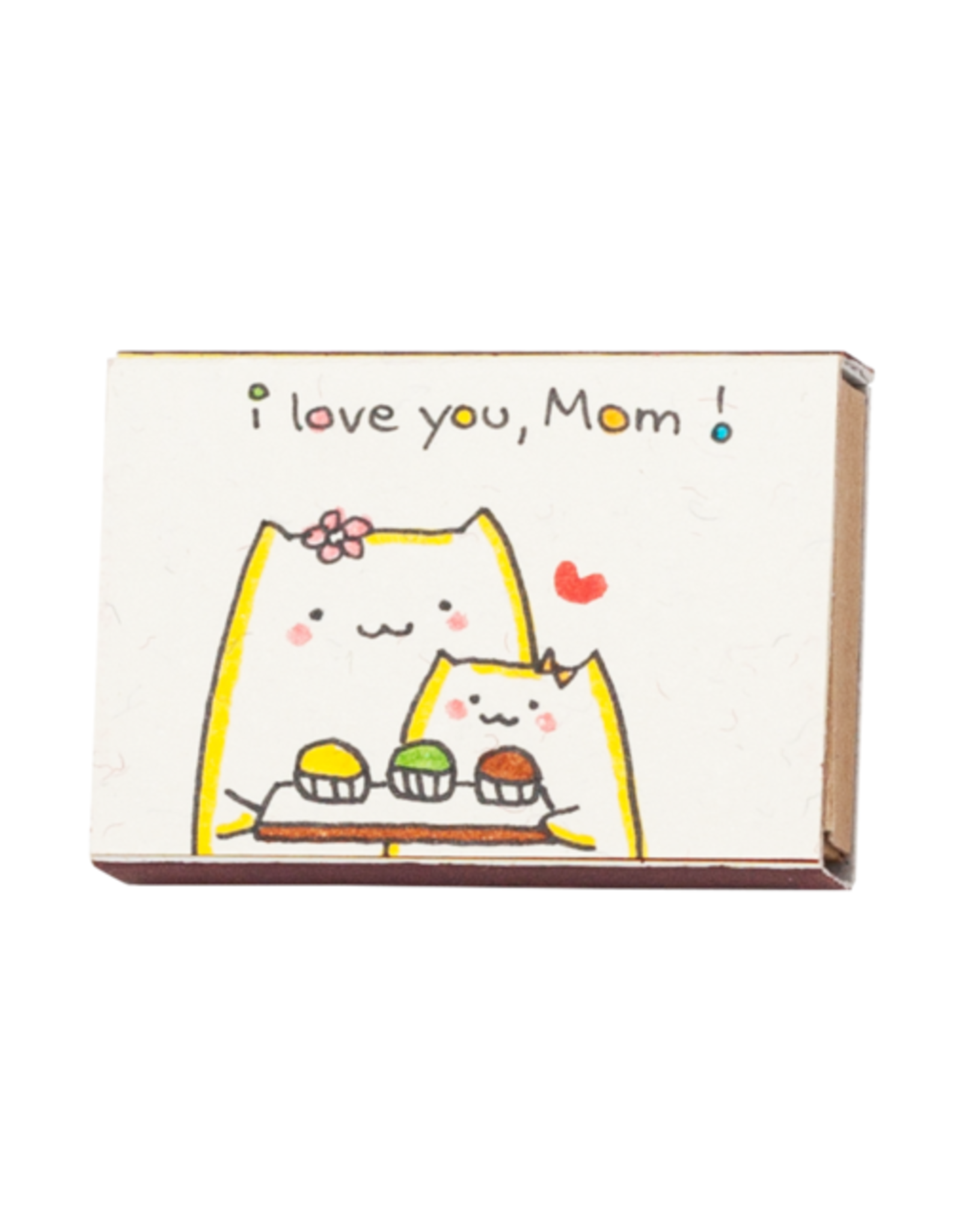 Matchbox Card with Flowers I Love You Mom Cats with Cupcakes
