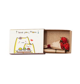 Matchbox Card with Flowers I Love You Mom