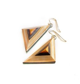 Maple XO Triangle Dangle Earrings - Skateboard Jewelry