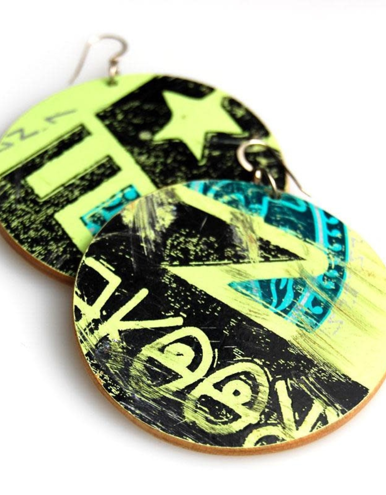 Maple XO Disk Earrings recycled skateboard
