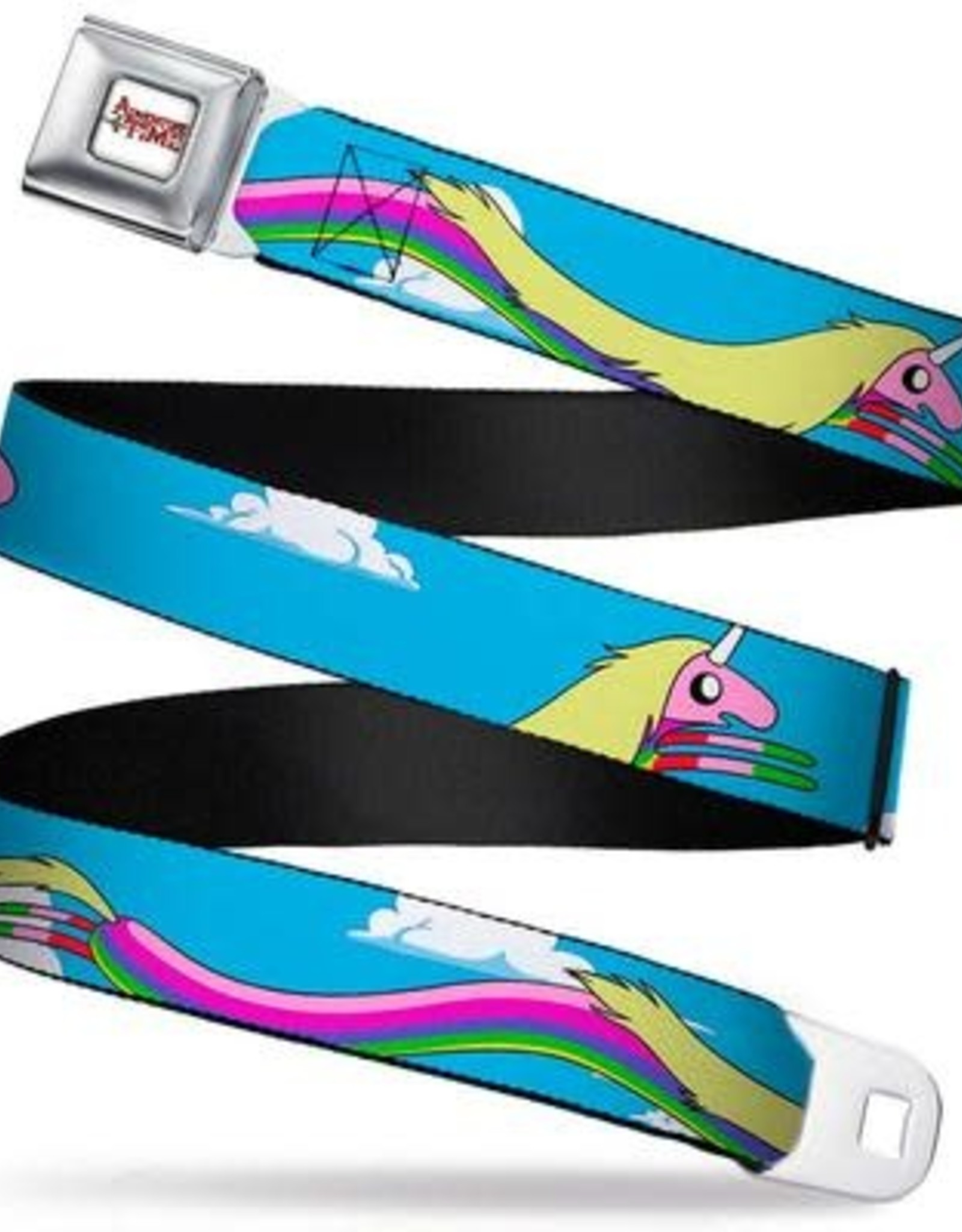 Buckle Down Belts Adventure Time Logo White Full Color Seatbelt Belt - Lady Raincorn Poses Webbing