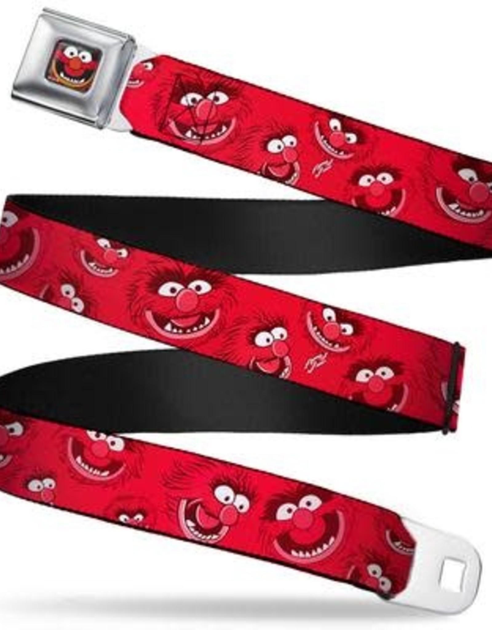 Buckle Down Belts Muppets Animal Face CLOSE-UP Full Color Black Seatbelt Belt - Animal Expressions Scattered Reds Webbing